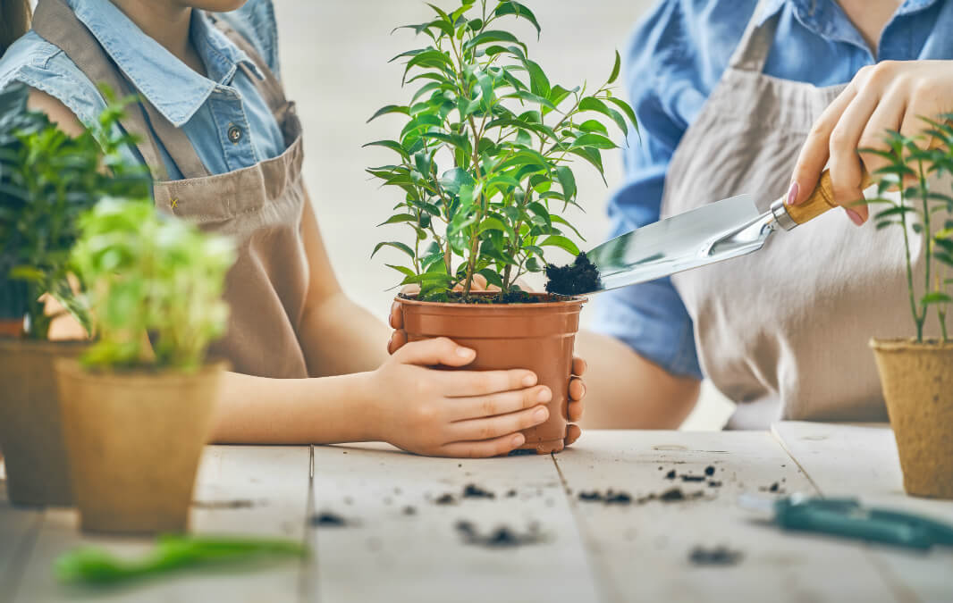 Mother and daughter planting plants together
