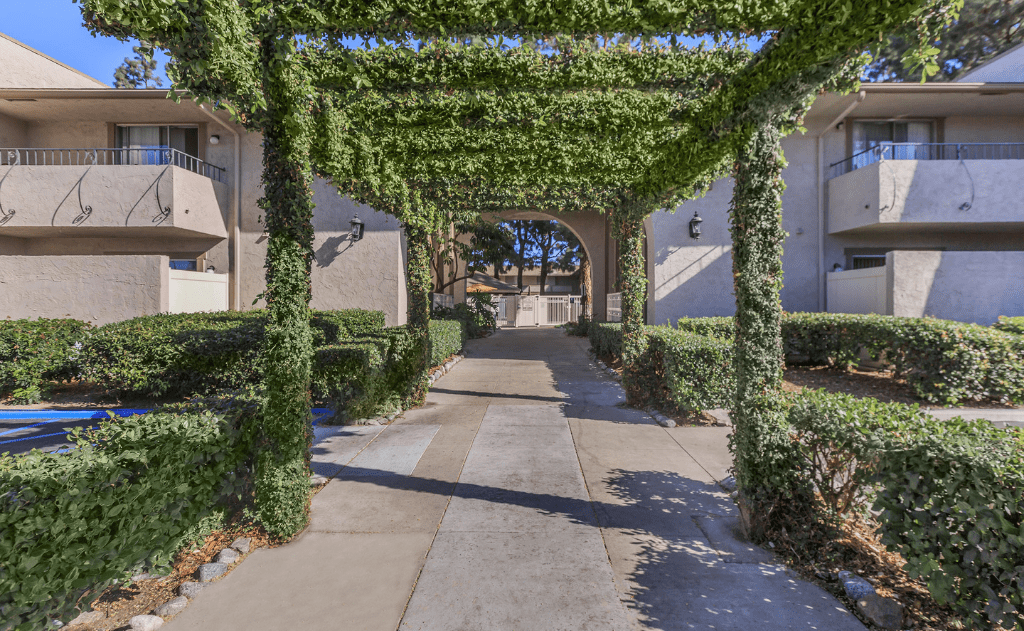 Entrance to the vicinity with a vine covered trellis