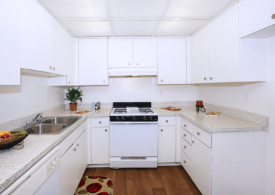 White and wooded floor kitchen