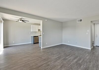 Living area with wood style flooring and open floor plan